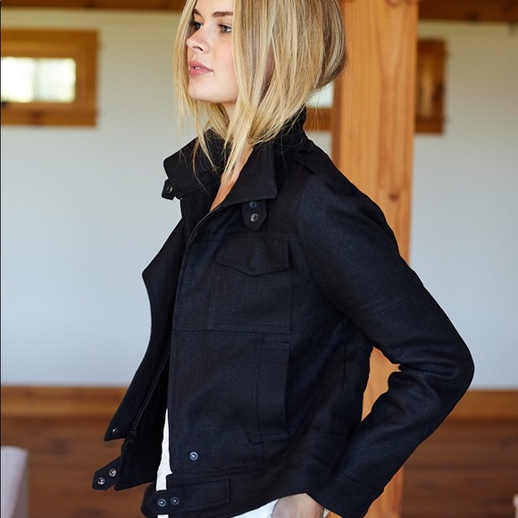 febe60c5379a Emerson Fry Jackets & Coats   Moto Jacket Black Linen Size 0   Poshmark